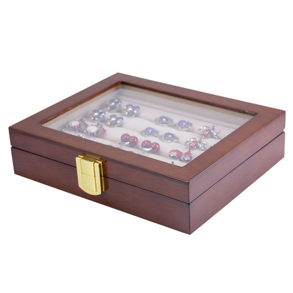 Brand New Glass Cufflinks Box Storage 12pairs Capacity Rings Jewelry Box High Quality Painted Wooden Collection Display Box