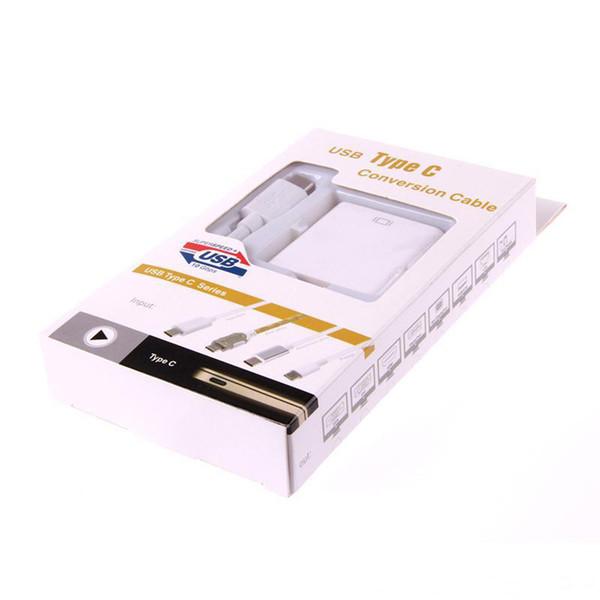 Consigliabile Baiy V12 USB 3.1 Tipo C Ad HDMI White Cable Adapter 22cm HDMI 1.4 Connect Monitor HDTV Adatto per dispositivi USB 3.1