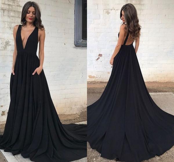 2017 Encantadores Vestidos de Baile Largos Largos Negros Cuello Sumergido Sin Respaldo Sin Precio Barato Vestidos de Noche de Verano Vestidos de Fiesta Formales Tren de Barrido