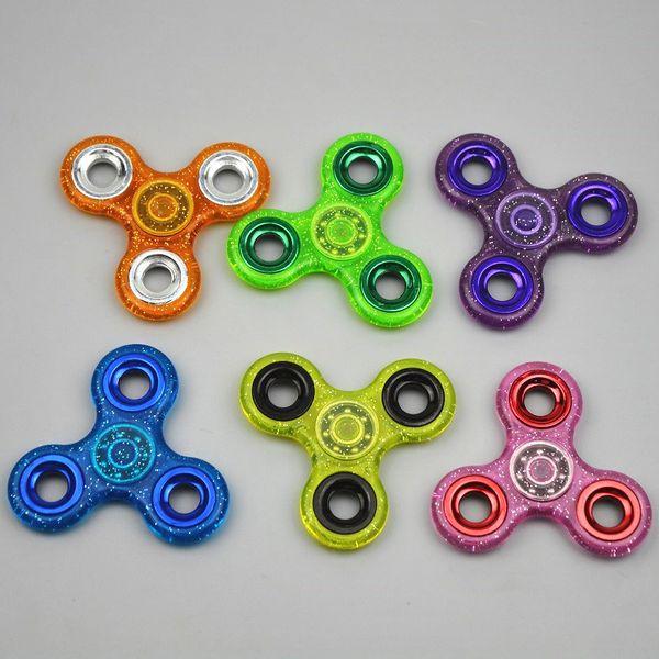 top popular MOQ 100pcs Glitter Fidget spinner HandSpinner Fingertips Spinner EDC Hand Spinner Acrylic Plastic Fidgets Toys Gyro Toys With Retail Box 2020