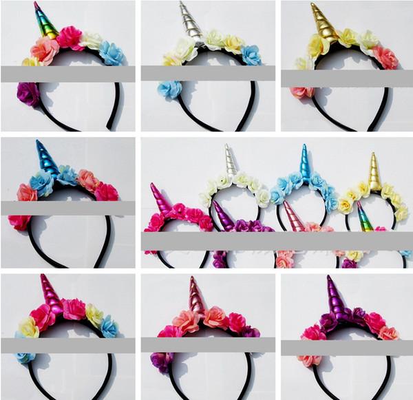 Halloween Baby Unicorn Hair Sticks Fascia infantile festa di compleanno per bambini bastoni per capelli Baby Girls fascia floreale oro paillettes Capelli nastro