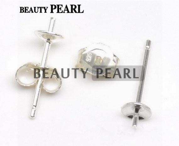 top popular 50 Pairs Wholesale 925 Sterling Silver Ear Studs Findings Stud with Back, Earring Base and Back Stopper Sets 2019