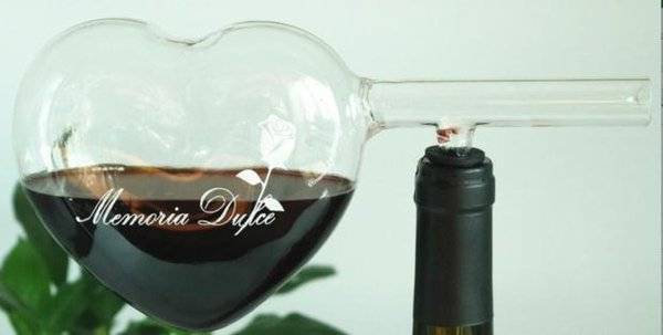 Cheap Glass Wine Decanter White Red wine aerator Heart shape Loving sign Party Club Set Free shipping Wine Glass Cup