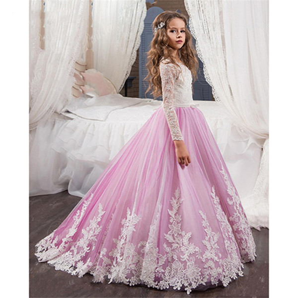 top popular Communion Dresses White and Purple Long Sleeves Charming Lace Appliques Princess Communion Dresses Pageant Ball Gowns For Girls 2021