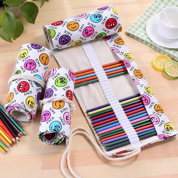 Pencil Bag Smile Face Emoji Student Rolls Scroll Painting Canvas Pen Bags Storage Pencils 36 Holes Large Capacity 7 2sh F R