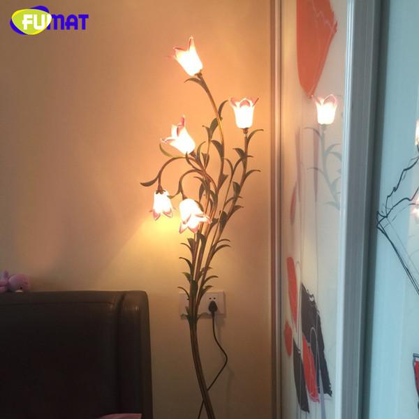 FUMAT Luminária de Chão de Vidro Criativo Sala de estar Quarto de Cama Sombra Lírio Lâmpada de Assoalho de Vidro Do Vintage Sombra Art Decor LED Stand Lâmpada de Assoalho