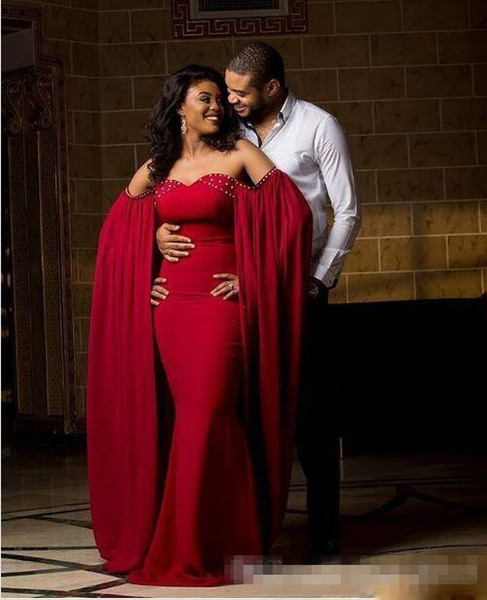 Puffy Sleeves Kaftans Red Sweet Neck Beaded Pregannt Evening Dresses Off the shoulder Saudi Arab Dubai Lady Party Dresses Evening Gown