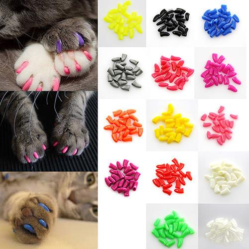 100Pcs/Lot Colorful Soft Pet Cats Kitten Paw Claws Control Nail Caps Cover Size XS-XXL With Adhesive Glue