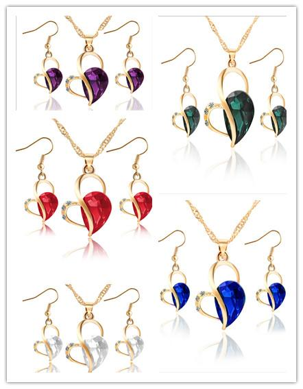 Fashion Gem Party Jewelry Sets For Womens Jewelry Set Necklace Earrings Heart Love Crystal Rhinestone Gift