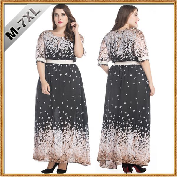 Plus Size Womens elegante abito in chiffon stampa floreale maxi abito lungo 7XL abiti da donna di grandi dimensioni vestito