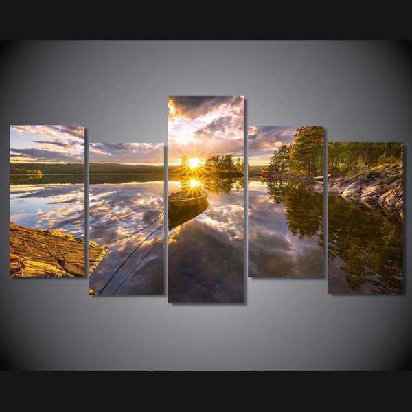 5 Pcs/Set HD Printed Ringerike Norway Lake Picture Wall Art Canvas Print Room Decor Poster Canvas Painting Large Wall Art
