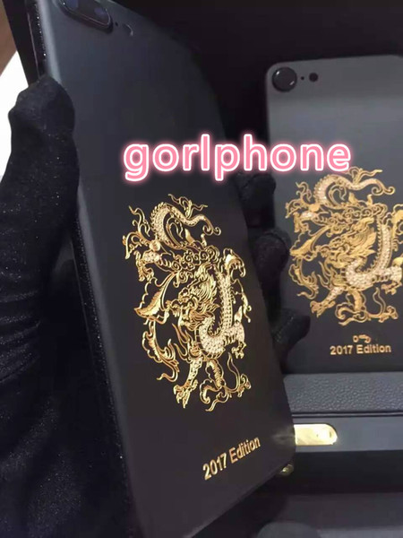 Hot selling stylish real gold black matt dragon cover for iphone 7 housing back panel new price matte black color back housing dragon gold