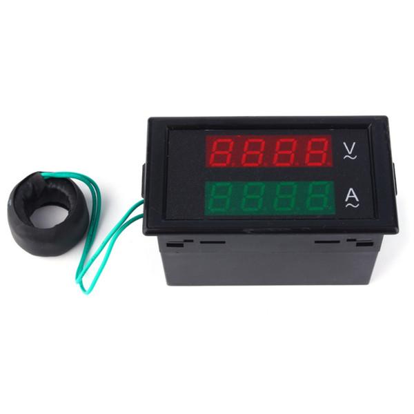 Wholesale-DL69-2042A Digital Dual Amperemter AC 300V 100A Blue Lcd Dual Panel Volt Amp Combo Meter+CT 110v 220v 240v