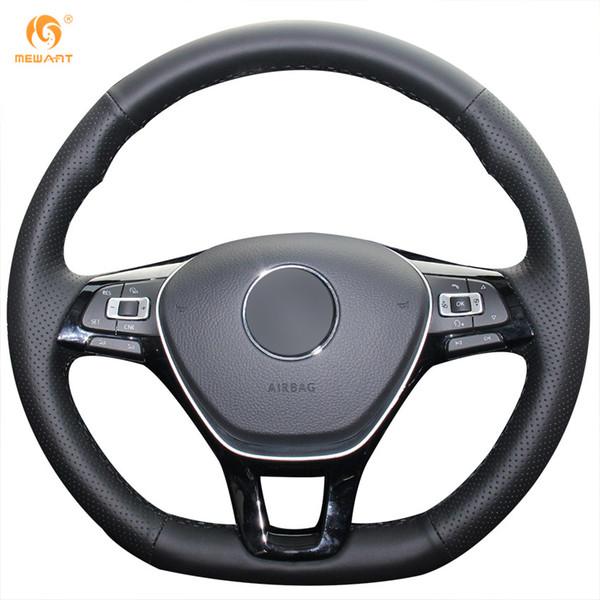 Mewant Black Genuine Leather Car Steering Wheel Cover for Volkswagen VW Golf 7 Mk7 New Polo Jetta Passat B8 Tiguan Sharan Touran Up
