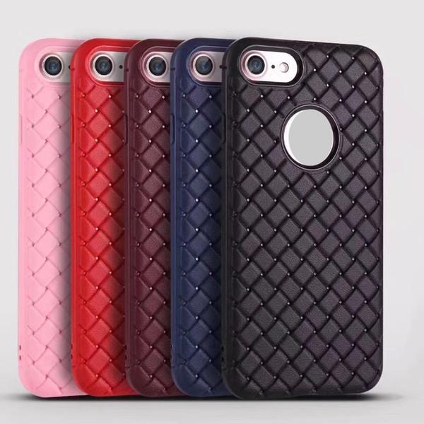 Coque arrière pour iphone X 8 8PLUS 7 7PLUS 6 6PLUS Tricoté Ligne TPU Soft Phone Case coloré