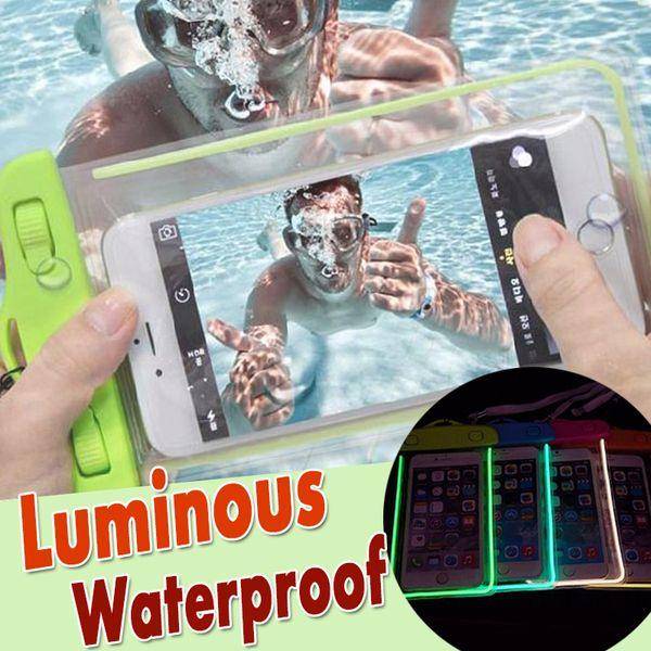 Luminous Waterproof Case PVC Touch Screen Bag Universal Pouch Dry Diving Bag For iPhone XS Plus X 8 7 6S Samsung Galaxy Note 9 Xiaomi Huawei