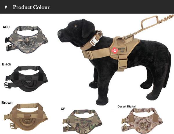 Gilet di addestramento tattico per cani 800D Nylon Regolabile per abbigliamento sportivo da indossare Gear Patrol Dog Harness Service Canottiera per cani
