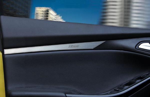 Per Ford Focus 3 2012 2013 porta interna plancia autoadesivo in acciaio inox trim per messa a fuoco 3 parti 2 pz / lotto