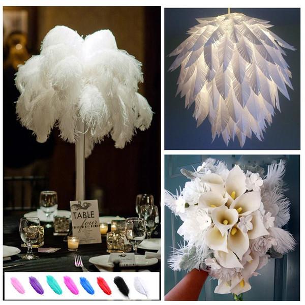 El color blanco factoryprice alta calidad pluma de la avestruz del penacho 16-18 pulgadas para centros de mesa de mesa partido de decoración del hogar Z134