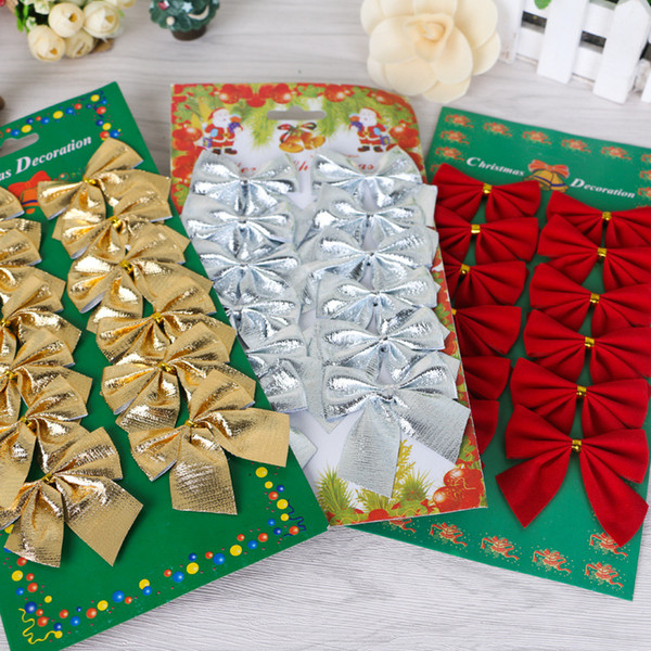 12x Bow Christmas Tree Hanging Ornament Bowknot Party Home Decor New Year Party supplier home Garden Bowknot Ornament wholesale Freeshipping