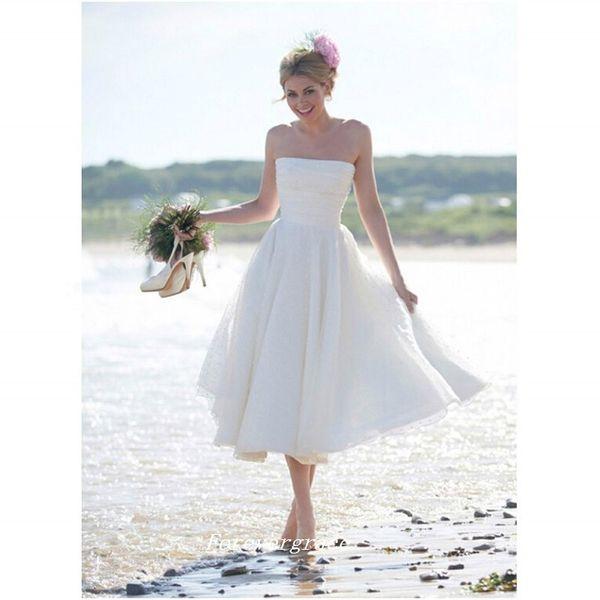 Boho Short Strapless Summer Beach Wedding Dress High Quality Tea Length Backless Women Bridal Gown Plus Size