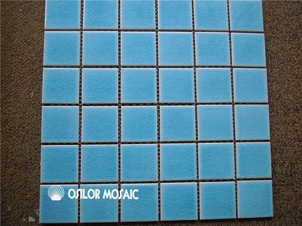 cracked pattern blue ceramic mosaic tile for bathroom and kitchen decoration wall tile swimming pool tile 48x48mm 4 square meters per lot