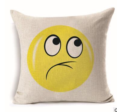 Emoji Pillow Case Square Pillowslip Fiberflax Cushion Cover Love Smile  Anger Pattern Pillowcase Home Decor Sofa Cushion Cover KKA1841 Make  Pillowcase
