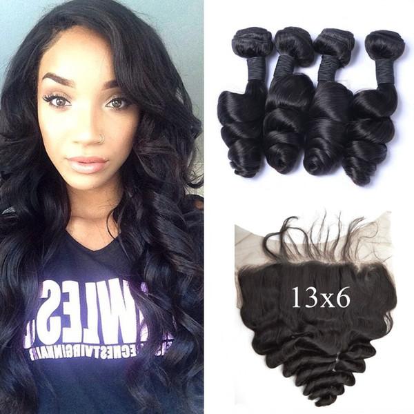4pcs Indian Human Hair Bundles With Full Lace Frontal Closure 13x6 100% Human Hair Virgin Indian Loose Wave Lace Frontals