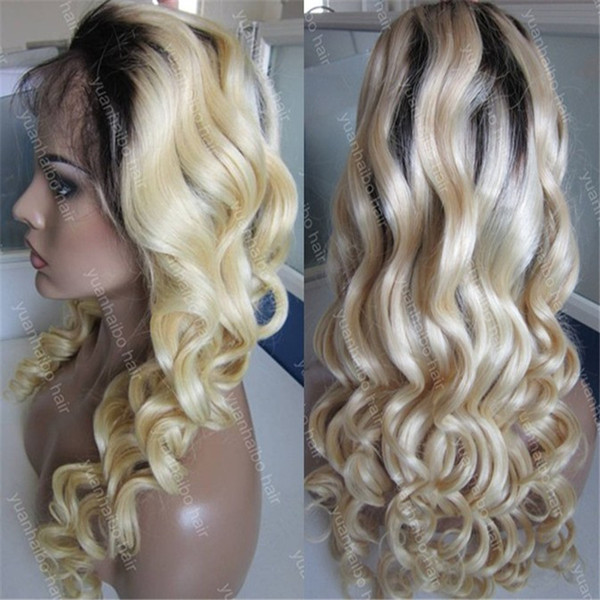 stock blonde wig 8a quality 1bT 613 loose wave virgin human hair Mongolian Hair front lace wig free shipping