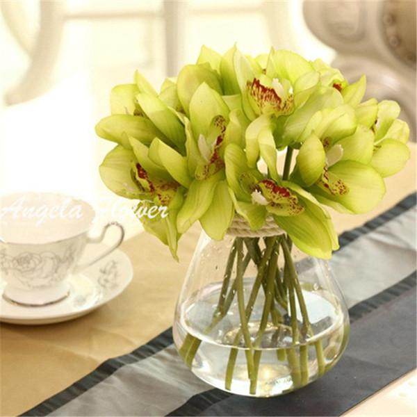 Atacado-Real toque cymbidium 6 cabeças curto atirar decoração de mesa de flores DIY mão de noiva de casamento flores home decor artificial orquídea