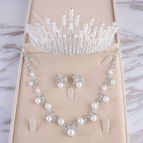 Beauty Silver Flower Bridal Necklace Earring Suits 3 pieces Jewelry Suits Wedding Bridal Jewelry P419016