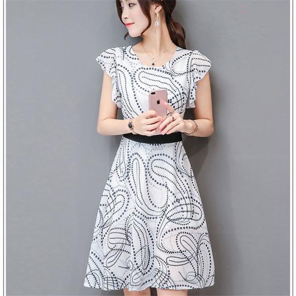 Women Elegant Short Butterfly Sleeve A-Line Dress O Neck Sweet Ladies Casual Knee-Length Dresses Dot Print Black Sashes vestidos