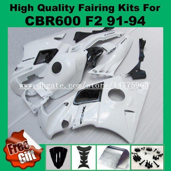 Free fairing screws fairings For HONDA CBR600 F2 91 92 93 94 CBR600RR F2 White CBR600 F2 1991 1992 1993 1994 Fairing kit +9Gifts