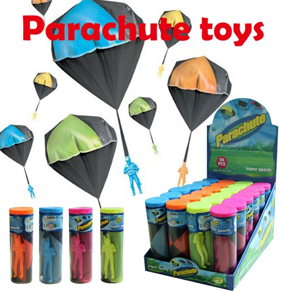 Parachute toys Hand throwing parachute+Plastic action figure dolls 4colors parachutist kids toys Outdoor games super sports Display box