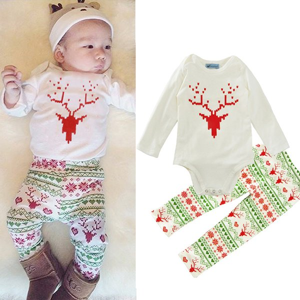 Boys Girls Clothing Suits Deer Winter Autumn Spring Casual Suits Shirts Pants Hat Infant Outfits Kids Tops & Shorts 0-24M