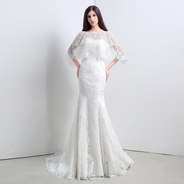 Real Images Full Lace Mermaid Wedding Dress With Jacket Sweep Train ...