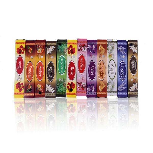 Venta al por mayor- 1/2 piezas Mezcla 10/20 Palitos de incienso indios Aromaterapia Aroma Perfume Fragancia Aire fresco Cuarto de baño accesorios nueva llegada
