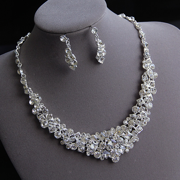 Beauty Silver Flower Bridal Necklace Earring Suits 2 pieces Jewelry Suits Wedding Bridal Jewelry P419007