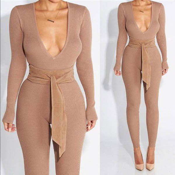 Wholesale- Rompers Women Jumpsuit 2017 Long Sleeve V-neck Playsuit Slim Knitted Bodycon Bandage Jumpsuit Khaki Full Coveralls FallBodysuit