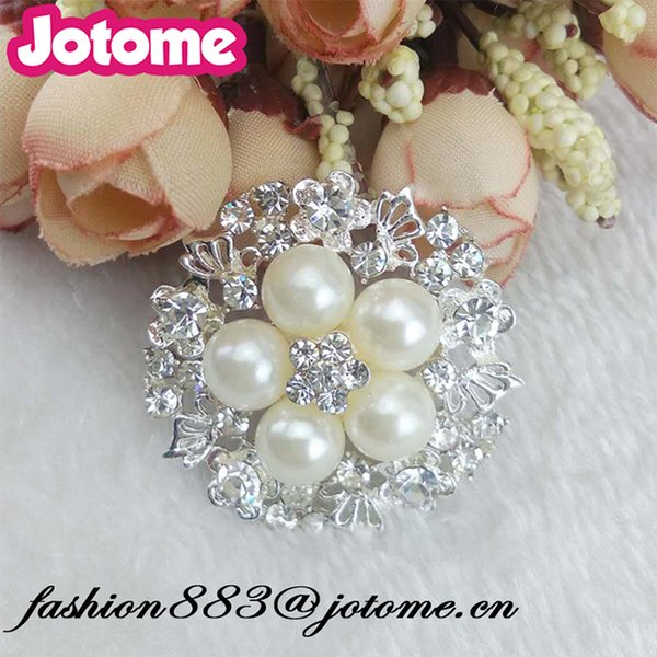 New High quality 40mm wedding Clothing Accessories round shape Pearl & Rhinestone Button /Brooch for Bride Corsage