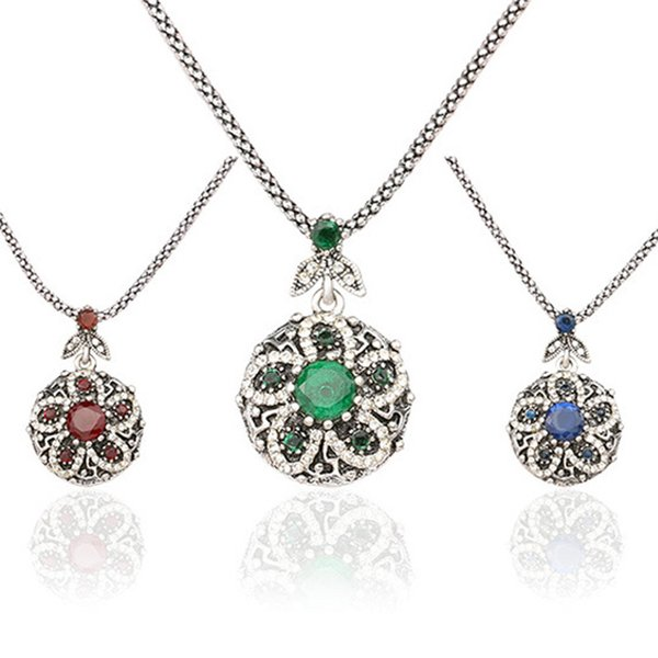 3 Colors Flower Pendant Necklace Vintage Ancient Silver Plated Resin Costume Necklaces colar Women Lady Jewelry Accessories
