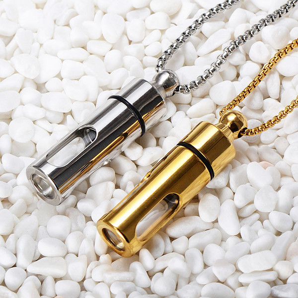 Titanium Storage Bottle Openable Bottiglie di profumo Pendenti Ash Urn Collana Glass Cylinder Lovers Gioielli Per Uomo Donna Coppie Regalo Keepsake