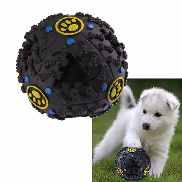 top popular 7cm Black Pet Dog Cat Food Dispenser Toy Ball Squeaky Giggle Quack Sound Training Toy Chew Ball 2021