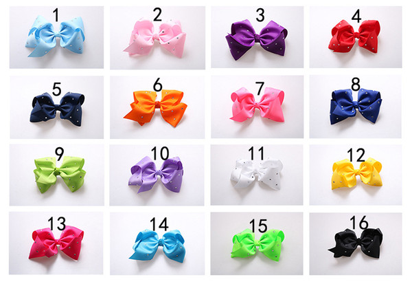 8 Inch JOJO Rhinestone Hair Bow With Clip For School Baby Children Pastel Bow 16 Colors Kids Hair Accessories