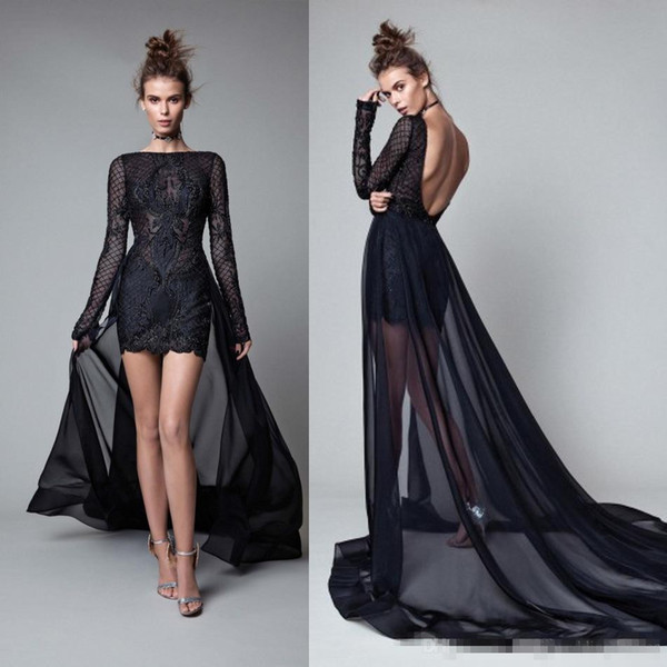 Sexy Backless Black Lace Formal Evening Dresses 2017 Berta Sheer Neck Long Sleeves With Detachable Train Prom Occasion Gowns For Women Cheap