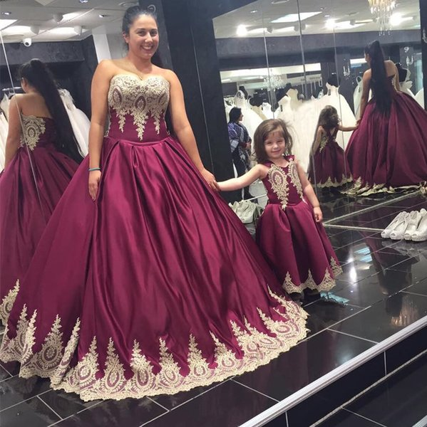 2017 Dark Red With Gold Appliques Satin Taffeta Long Mother Daughter ...