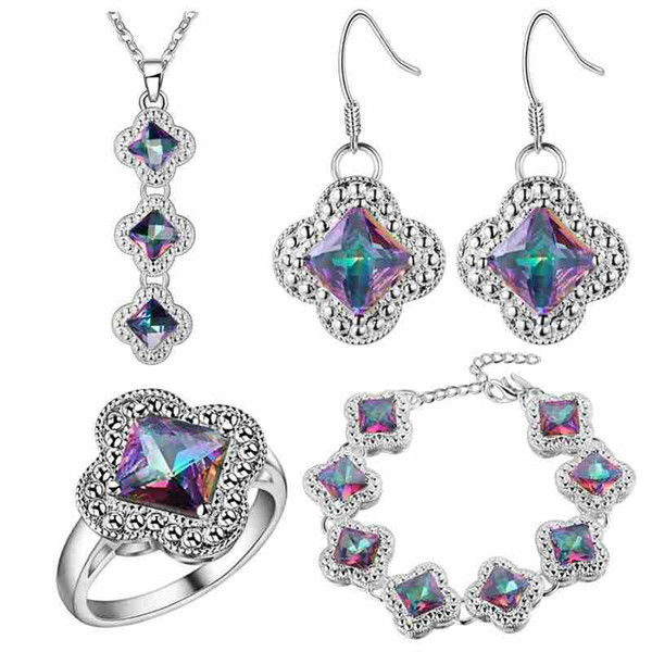 A thick silver plating jewelry SET bracelet pendant ring earring explosion katami clover colorful stone jewelry wholesale trade