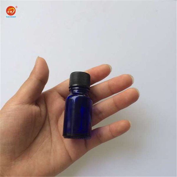 Wholesale 10ml Mini Blue Glass e Liquid Bottles with Black Cap Sealing up Bottles small Glass Jars 24pcs/lot
