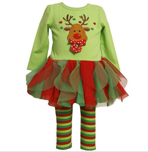 Fashion Baby Girls Clothing Cute Deer Long Sleeve Cotton Top Tutu Dress+Colored stripes Leggings Pants Children Girl Clothes Christmas