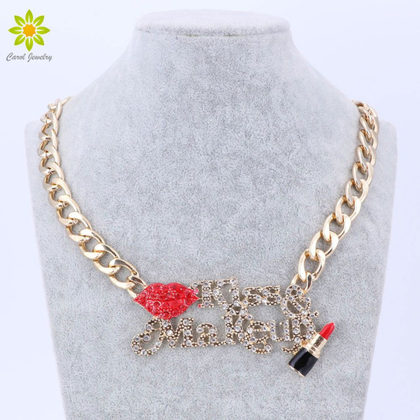 60e138449f530 2017 Hot Sale Red Sexy Lip And Enameled Lipstick Kiss Make Up Women Gold  Chain Necklace